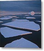Broken Fast Ice Under Midnight Sun East Metal Print by Tui De Roy
