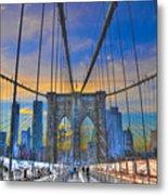 Brooklyn Bridge At Dusk Metal Print by Randy Aveille