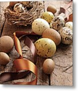 Brown And Yellow Eggs With Ribbons For Easter Metal Print by Sandra Cunningham