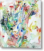 Bruce Springsteen Playing The Guitar Watercolor Portrait Metal Print by Fabrizio Cassetta