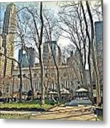 Bryant Park Library Gardens Metal Print by Tony Ambrosio