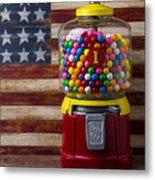 Bubblegum Machine And American Flag Metal Print by Garry Gay
