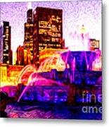 Buckingham Fountain At Night Digital Painting Metal Print by Paul Velgos