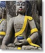 Buddha Figure In Kathmandu Nepal Metal Print by Robert Preston