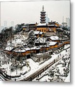Buddha - Jiming Temple In The Snow - Colour Version  Metal Print by Dean Harte
