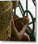 Buddhist Monk Leaning Against A Pillar Sule Pagoda Central Yangon Myanar Metal Print by Ralph A  Ledergerber-Photography