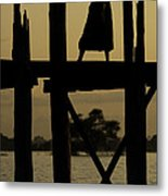 Buddhist Monk Walking Over U Bein's Bridge At Sunset Metal Print by Ruben Vicente