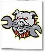 Bulldog Dog Spanner Head Mascot Metal Print by Aloysius Patrimonio