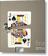 Bullet Piercing Playing Card Metal Print by Gary S. Settles
