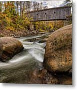 Bulls Bridge Autumn Square Metal Print by Bill Wakeley