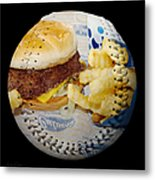 Burger And Fries Baseball Square Metal Print by Andee Design