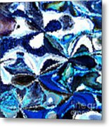 Bursts Of Blue And White - Abstract Art Metal Print by Carol Groenen