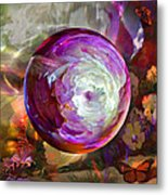 Butterfly Garden Globe Metal Print by Robin Moline