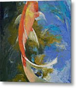 Butterfly Koi Painting Metal Print by Michael Creese