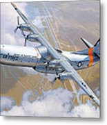 C-133 Cargomaster Over Travis Metal Print by Stu Shepherd