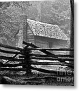 Cabin In The Fog Metal Print by Julie Dant