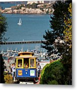 Cable Car In San Francisco Metal Print by Brian Jannsen