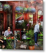 Cafe - Hoboken Nj - A Day Out  Metal Print by Mike Savad