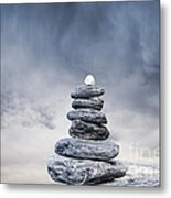 Cairn And Stormy Sky Metal Print by Colin and Linda McKie