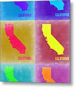 California Pop Art Map 2 Metal Print by Naxart Studio