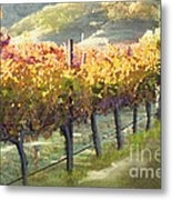 California Vineyard Series Morning In The Vineyard Metal Print by Artist and Photographer Laura Wrede