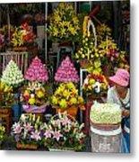 Cambodia Flower Seller Metal Print by Mark Llewellyn