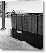 canada post post mailboxes in rural small town Forget Saskatchewan Canada Metal Print by Joe Fox