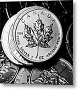 Canadian One Ounce Maple Leaf Silver Coins Metal Print by Joe Fox