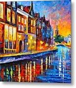 Canal In Amsterdam Metal Print by Leonid Afremov