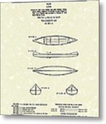 Canoe 1963 Patent Art Metal Print by Prior Art Design