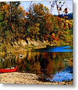 Canoe On The Gasconade River Metal Print by Steve Karol