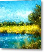 Canola Fields Impressionist Landscape Painting Metal Print by Michelle Wrighton