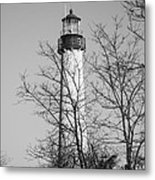 Cape May Light B/w Metal Print by Jennifer Lyon