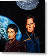 Captain Archer And T Pol Metal Print by Robert Steen