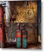 Car - Station - Gas Pumps Metal Print by Mike Savad