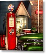 Car - Station - White Flash Gasoline Metal Print by Mike Savad