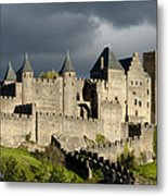 Carcassonne Stormy Skies Metal Print by Robert Lacy