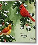 Cardinals Holiday Card - Version With Snow Metal Print by Crista Forest
