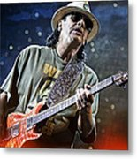 Carlos Santana On Guitar 2 Metal Print by The  Vault - Jennifer Rondinelli Reilly