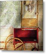 Carnival - The Popcorn Cart Metal Print by Mike Savad