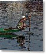 Cartoon - Man Plying A Wooden Boat On The Dal Lake Metal Print by Ashish Agarwal