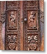 Carved Wooden Door At Bhaktapur In Nepal Metal Print by Robert Preston