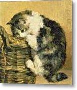 Cat With A Basket Metal Print by Charles Van Den Eycken