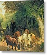 Cattle Watering In A Wooded Landscape Metal Print by Friedrich Johann Voltz