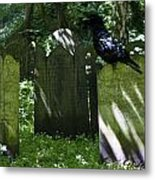 Cemetery With Ancient Gravestones And Black Crow  Metal Print by Georgia Fowler