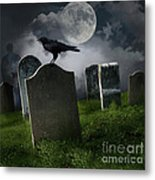 Cemetery With Old Gravestones And Moon Metal Print by Sandra Cunningham