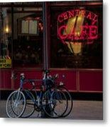 Central Cafe Bicycles Metal Print by Susan Candelario