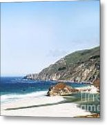 Central Coast Beach Near Cambria And San Simeon Metal Print by Artist and Photographer Laura Wrede