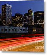 Century City Skyline At Night Metal Print by Paul Velgos