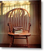 Chair And Lace Shadows Metal Print by Jill Battaglia